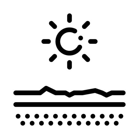 Drying Out Skin in Sun Icon Vector. Outline Drying Out Skin in Sun Sign. Isolated Contour Symbol Illustration