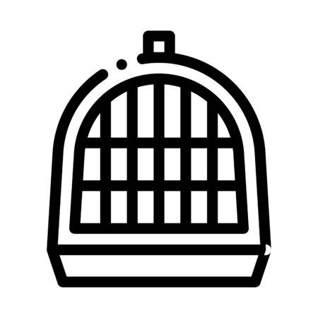 Pet Cage Icon Vector. Outline Pet Cage Sign. Isolated Contour Symbol Illustration