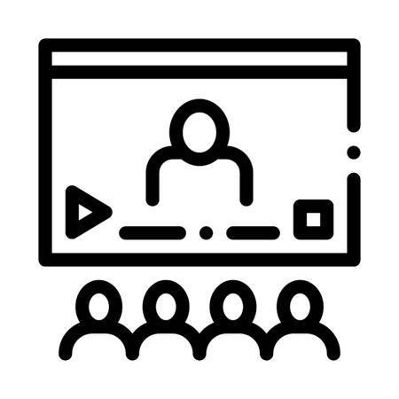 Video Presentation Icon Vector. Outline Video Presentation Sign. Isolated Contour Symbol Illustration