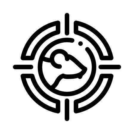 Mouse Target Icon Vector. Outline Mouse Target Sign. Isolated Contour Symbol Illustration