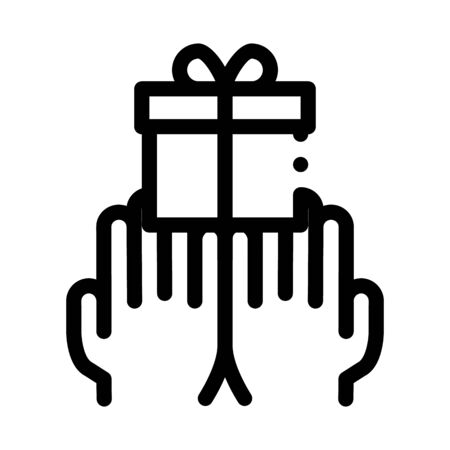 Hands Giving Gift Icon Vector. Outline Hands Giving Gift Sign. Isolated Contour Symbol Illustration