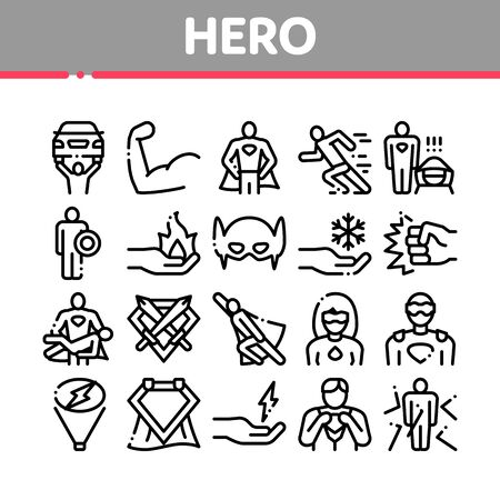 Super Hero Collection Elements Icons Set Vector Thin Line. Hero Superman Silhouette And Woman, Face Mask And Muscle Power Concept Linear Pictograms. Monochrome Contour Illustrations Ilustração