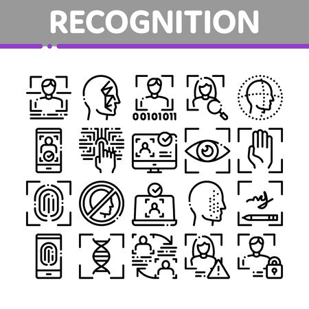 Recognition Collection Elements Icons Set Vector Thin Line. Eye Scanning, Biometric Recognition, Face Id Systems, Human Silhouette Concept Linear Pictograms. Monochrome Contour Illustrations