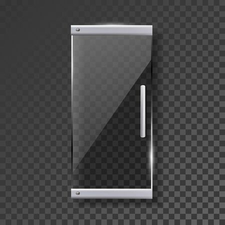 Glass Door With Silver Handle And Hinges Vector. Style Transparency Door Entrance Showcase To Fashion Store Or Hairdressing Salon. Interior Element Mockup Realistic 3d Illustration
