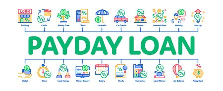 Payday Loan Minimal Infographic Web Banner Vector. Payday Money For Credit Of Car Or House, Education Or Travel Concept Illustrations