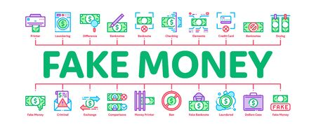 Fake Money Minimal Infographic Web Banner Vector. Bandit Silhouette And Pencil, Printing And Laundering Money Dollar Concept Illustrations
