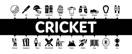 Cricket Game Minimal Infographic Web Banner Vector. Cricket Ball And Bat, T-shirt And Spike Sneakers, Gaming Equipment And Cup Concept Illustrations