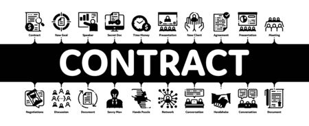 Contract Minimal Infographic Web Banner Vector. Human Silhouette And Hands, Handshake And Agreement Contract Document With Pen Concept Illustrations 일러스트