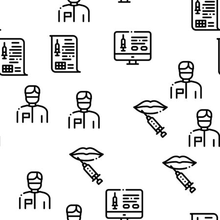 Injections Seamless Pattern Vector Thin Line. Illustrations