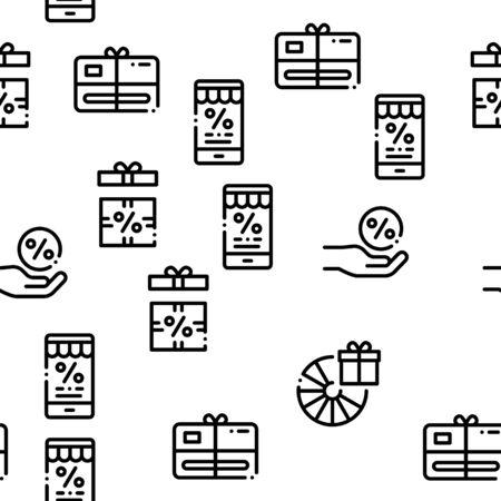 Loyalty Program For Customer Seamless Pattern Vector Thin Line. Illustrations