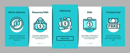 Fake Money Onboarding Mobile App Page Screen. Bandit Silhouette And Pencil, Printing And Laundering Money Dollar Concept Illustrations