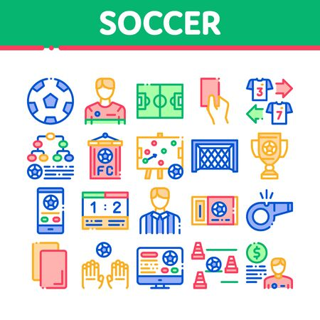 Soccer Football Game Collection Icons Set Vector Thin Line. Soccer Playing Ball, Player And Arbitrator Man Silhouette, Cup And Whistle Concept Linear Pictograms. Color Contour Illustrations Banque d'images - 134736577