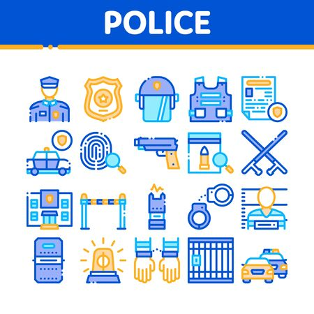 Police Department Collection Icons Set Vector Thin Line. Policeman Silhouette, Police Badge And Body Armor, Helmet And Gun And Truncheon Concept Linear Pictograms. Color Contour Illustrations