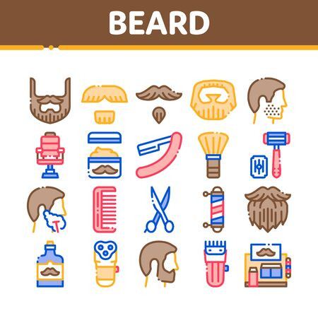 Beard And Mustache Collection Icons Set Vector Thin Line. Man Silhouette Shave Beard By Razor, Scissors And Electronic Device Concept Linear Pictograms. Color Contour Illustrations