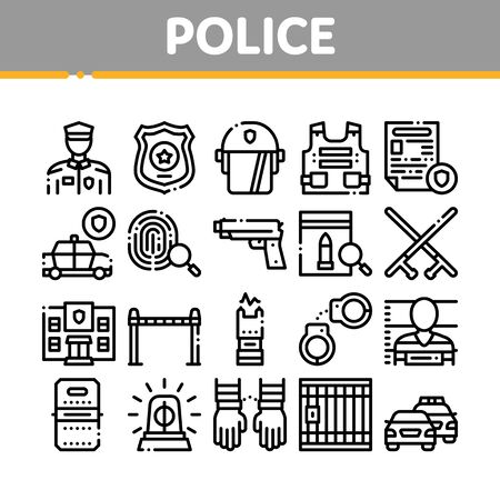 Police Department Collection Icons Set Vector Thin Line. Policeman Silhouette, Police Badge And Body Armor, Helmet And Gun And Truncheon Concept Linear Pictograms. Monochrome Contour Illustrations Ilustração