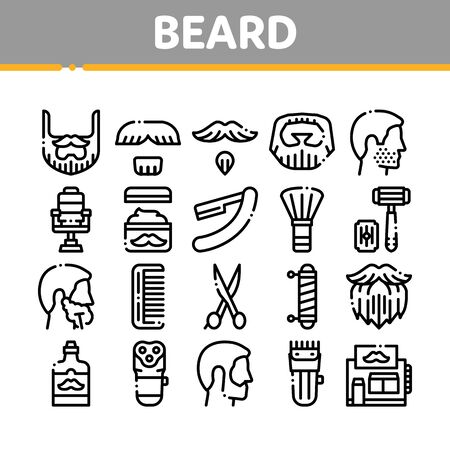 Beard And Mustache Collection Icons Set Vector Thin Line. Man Silhouette Shave Beard By Razor, Scissors And Electronic Device Concept Linear Pictograms. Monochrome Contour Illustrations  イラスト・ベクター素材