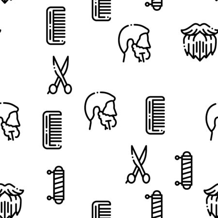 Beard And Mustache Seamless Pattern Vector Thin Line. Illustrations