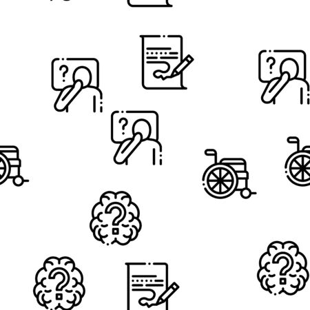 Alzheimers Disease Seamless Pattern Vector Thin Line. Illustrations