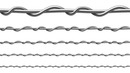 Twisted Steel Wire Seamless Pattern Set Vector. Collection Of Metallic Wire Of Gates Or Fence For Restrict Passage Of People, Vehicles And Agricultural Implements. Template Realistic 3d Illustrations