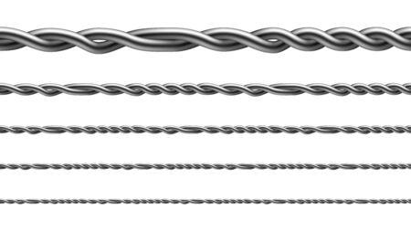 Fil de fer torsadé Seamless Pattern Set Vector. Collection de fil métallique aligné, technologie de clôture standard pour enfermer le bétail et attacher aux poteaux en bois. Modèle Illustrations 3d réalistes Vecteurs