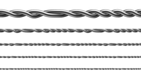 Twisted Iron Wire Seamless Pattern Set Vector. Collection Of Aligned Metallic Wire, Standard Fencing Technology For Enclosing Cattle And Attach To Wooden Posts. Template Realistic 3d Illustrations Vector Illustratie