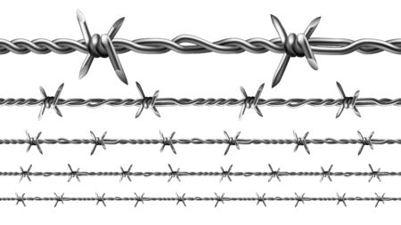 Wire Of Prison Fence Seamless Pattern Set Vector. Type Of Steel Fencing Wire Chain Constructed With Sharp Edges Arranged At Intervals Along Strands. Template Realistic 3d Illustrations