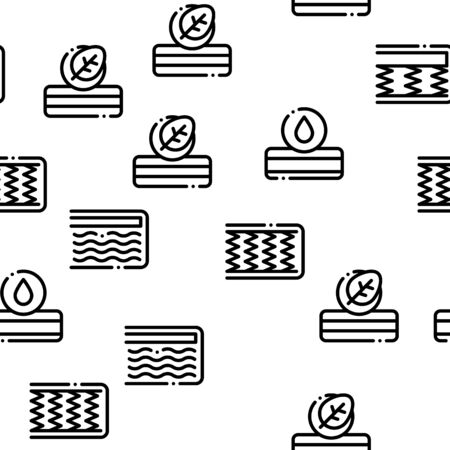 Mattress Orthopedic Seamless Pattern Vector Thin Line. Illustrations Illustration