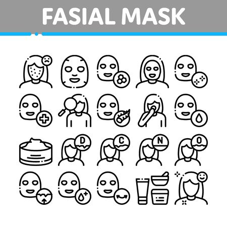 Facial Mask Healthcare Collection Icons Set Vector Thin Line. Container Of Vitamin Facial Cream, Cosmetic Skin Care Gel, Woman Silhouette Concept Linear Pictograms. Monochrome Contour Illustrations Illustration