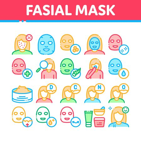Facial Mask Healthcare Collection Icons Set Vector Thin Line. Container Of Vitamin Facial Cream, Cosmetic Skin Care Gel, Woman Silhouette Concept Linear Pictograms. Color Contour Illustrations