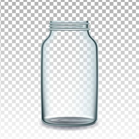 Bottle For Storaging Canned Vegetables Vector. Opened Empty Glass Bottle For Pickled Tomatoes, Cucumbers Or Sweet Peppers Transparency Background. Kitchen Glassware Template Realistic 3d Illustration Illusztráció