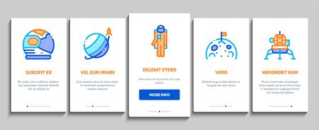 Astronaut Equipment Onboarding Mobile App Page Screen. Astronaut Spacesuit And Helmet, Shuttle And Satellite, Rocket And Asteroid Concept Illustrations