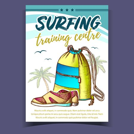 Tourist Bag, Shoes, Palms And Birds Banner Vector. Tropical Tree, Sneakers, Seagulls And Stars On Surfing Training Centre Advertising Poster. Bright And Modern Designed Color Flyer Illustration 일러스트