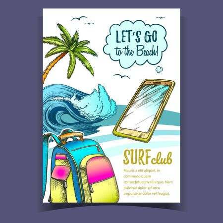 Backpack, Smartphone, Palm And Wave Banner Vector. Mobile Phone, Ocean Wave, Tropical Tree And Birds On Beach Coastline Surf Club Colored Advertising Poster. Designed Flyer Illustration