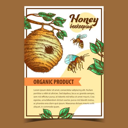 Bee Insect And Natural Beehive House Poster Vector. Tree Bee Nest With Circular Entrance For Swarm. Wildlife Beekeeping And Sweet Honey Organic Product Layout Designed In Retro Style Illustration