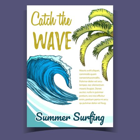 Ocean Wave And Palm Green Leaves Banner Vector. Catch Wave And Summer Surfing Phrases On Beach Surf Club Colorful Advertising Poster. Concept Of Designed Information Flyer Illustration