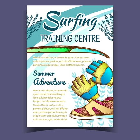 Gloves, Surfing Shoes And Seaweed Banner Vector. Swimming Gloves Part Of Wetsuit And Surfboard On Surfing Training Centre Colorful Advertising Poster. Summer Adventure Illustration