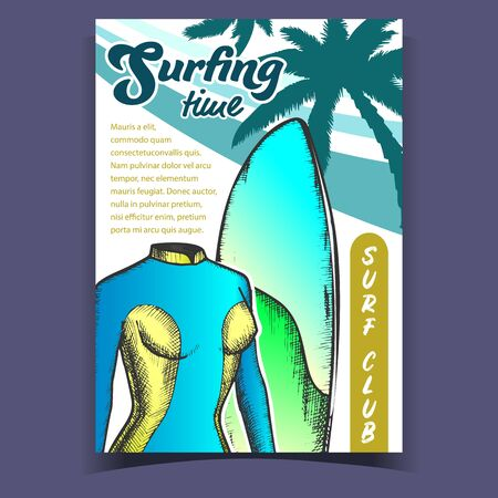 Swimming Suit For Woman And Board Banner Vector. Female Swimming Wetsuit, Surfboard And Palms For Surfing Time. Clothes For Extreme Active Sport On Surf Club Poster Colorful Illustration