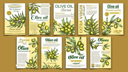 Olives Original Organic Product Poster Set Vector. Collection Of Banner With Olives On Twig. Vertical Advertising Flyers And Labels In Retro Style. Promotion Of Oil Template Colorful Illustrations 일러스트