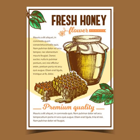 Honey In Bottle And Honeycombs On Poster Vector. Glass Package With Sweet Product And Honeycombs. Promotion Flyer Ornamented Green Leaves And Flower. Organic Fresh Nutrition Layout Illustration