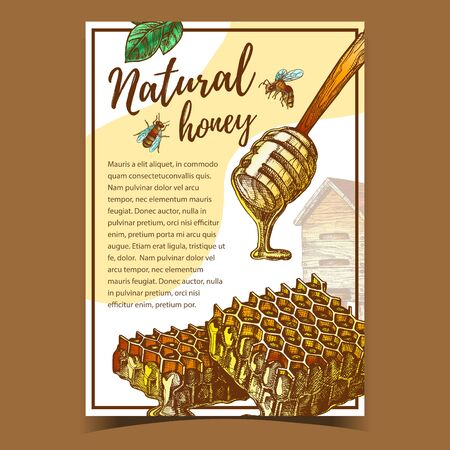 Honeycomb And Wooden Dipper Stick Poster Vector. Fresh Organic Natural Honey Dripping From Stick And Beehive. Healthy Delicious Sweet Food Bee Product Ingredient For Dessert Or Drink Illustration