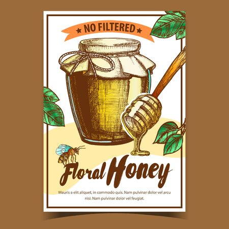 Honey In Bottle And Wooden Stick Poster Vector. Glass Containers With Sweet Product, Spoon For Honey And Bee Insect. Advertising Banner Decorated Green Leaves And Frame. Natural Nutrition Illustration