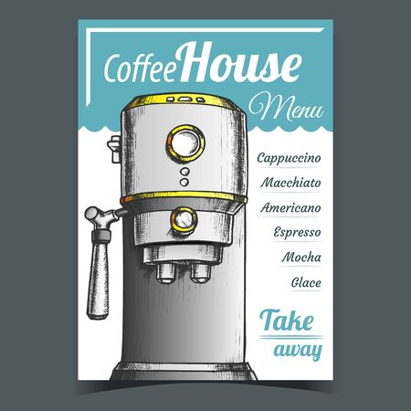 Coffee Maker Machine Front View Poster Vector. Coffee House Electronic Machine For Brew Espresso. Bar Equipment Depicted On Menu Concept Template Designed In Vintage Style Color Illustration