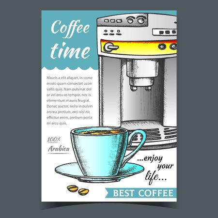 Espresso Machine Front View And Cup Banner Vector. Stylish Electronic Coffee Machine, Beams And Mug With Hot Arabica Drink. Technology For Make Beverage Template Designed In Vintage Style Illustration