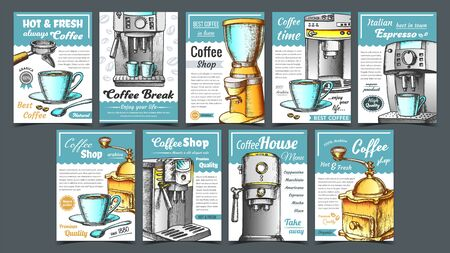 Coffee Machine, Holder And Cup Posters Set Vector. Portafilter, Manual Grinder And Mug With Hot Drink Machine Details. Concept Template Designed In Vintage Style Colorful Illustrations 일러스트
