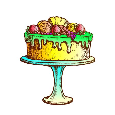 Delicious Cake Decorated With Fruits Ink Vector. Cake Pie With Orange, Strawberry And Pineapple On Pedestal Plate Engraving Template Hand Drawn In Vintage Style Color Illustration 일러스트