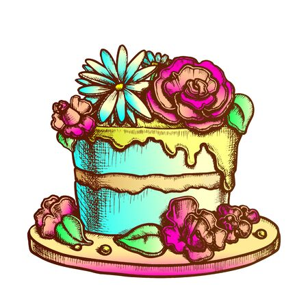 Birthday Cake Decorated With Flowers Ink Vector. Birthday Festive Pie Decorate Cream Bouquet For Woman Anniversary Engraving Template Hand Drawn In Vintage Style Color Illustration 일러스트