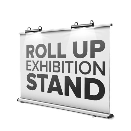 Roll Up Exhibition Stand With Modern Lamps Vector. Horizontal Stand Display With Lighting Backlight And Aluminum Frame, Promotion Banner With Scones. Template Realistic 3d Illustration