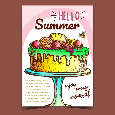 Delicious Cake Decorated With Fruits Poster Vector. Summer Cake Pie With Orange, Strawberry And Pineapple On Pedestal Plate Template Hand Drawn In Vintage Style Colored Illustration