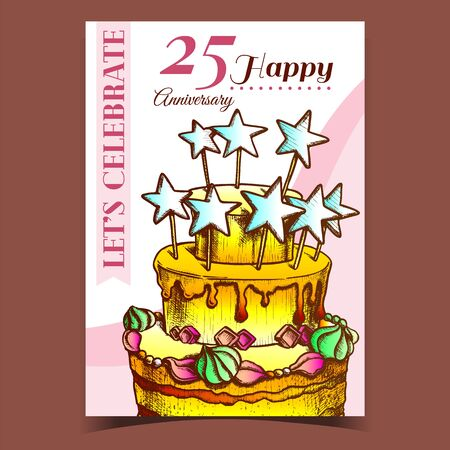 Birthday Cake Decorated With Stars Poster Vector. Anniversary Happy Birthday Celebrate Pie With Ornamental Buttercream Concept Template Hand Drawn In Vintage Style Colorful Illustration 일러스트