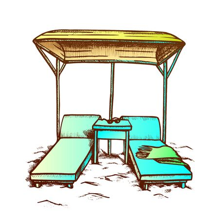Deck Chairs Under Canopy On Beach Retro Vector. Chairs, Towel And Sunglasses On Wooden Table. Luxury Lounge Resort Zone Engraving Template Designed In Vintage Style Color Illustration